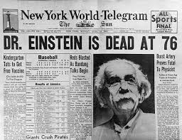 Cover of New York World-Telegram and The Sun on 18 April 1955 announcing the death  of Albert Einstein