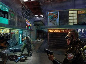 Horror is a key focus of System Shock 2. This concept art depicts the protagonist encountering an infected crewmember. SS2 Concept.jpg