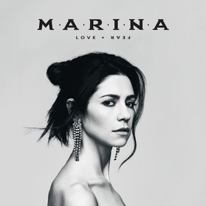 A greyscale photograph of Marina gazing into the camera. Above her, the album's title and her name are placed in black lettering.