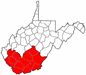 Map of Southern WV