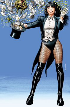 Zatanna in a stage magician's uniform, pulling a variety of creatures out of a top hat and smiling