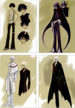 Early designs of Lelouch and his alter ego, Zero, (top right), by Clamp.