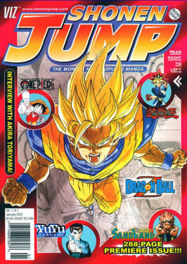 Super Saiyan Goku on the cover of Shonen Jump