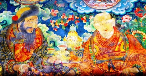 Gushri Khan and Sonam Rapten. From a mural at the Jokhang Temple, Lhasa. Photo: Brian J. McMorrow