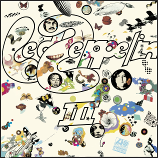 "A collage of butterflies, teeth, zeppelins and assorted imagery on a white background, with the artist name and ""III"" subtitle at center."
