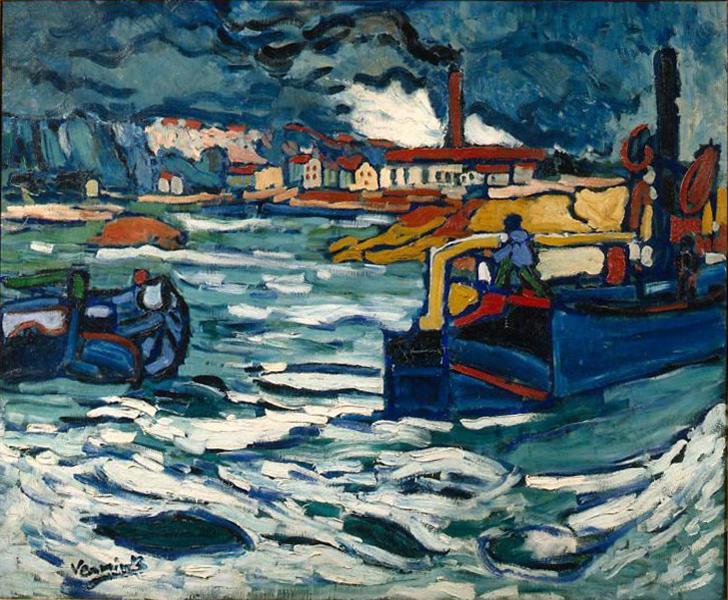 file maurice de vlaminck 1905 06 barges on the seine bateaux sur la seine oil on canvas 81. Black Bedroom Furniture Sets. Home Design Ideas