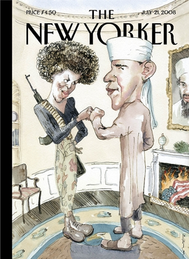 Barry Blitt's cover from the July 21, 2008, issue of The New Yorker New Yorker magazine Politics of Fear.png