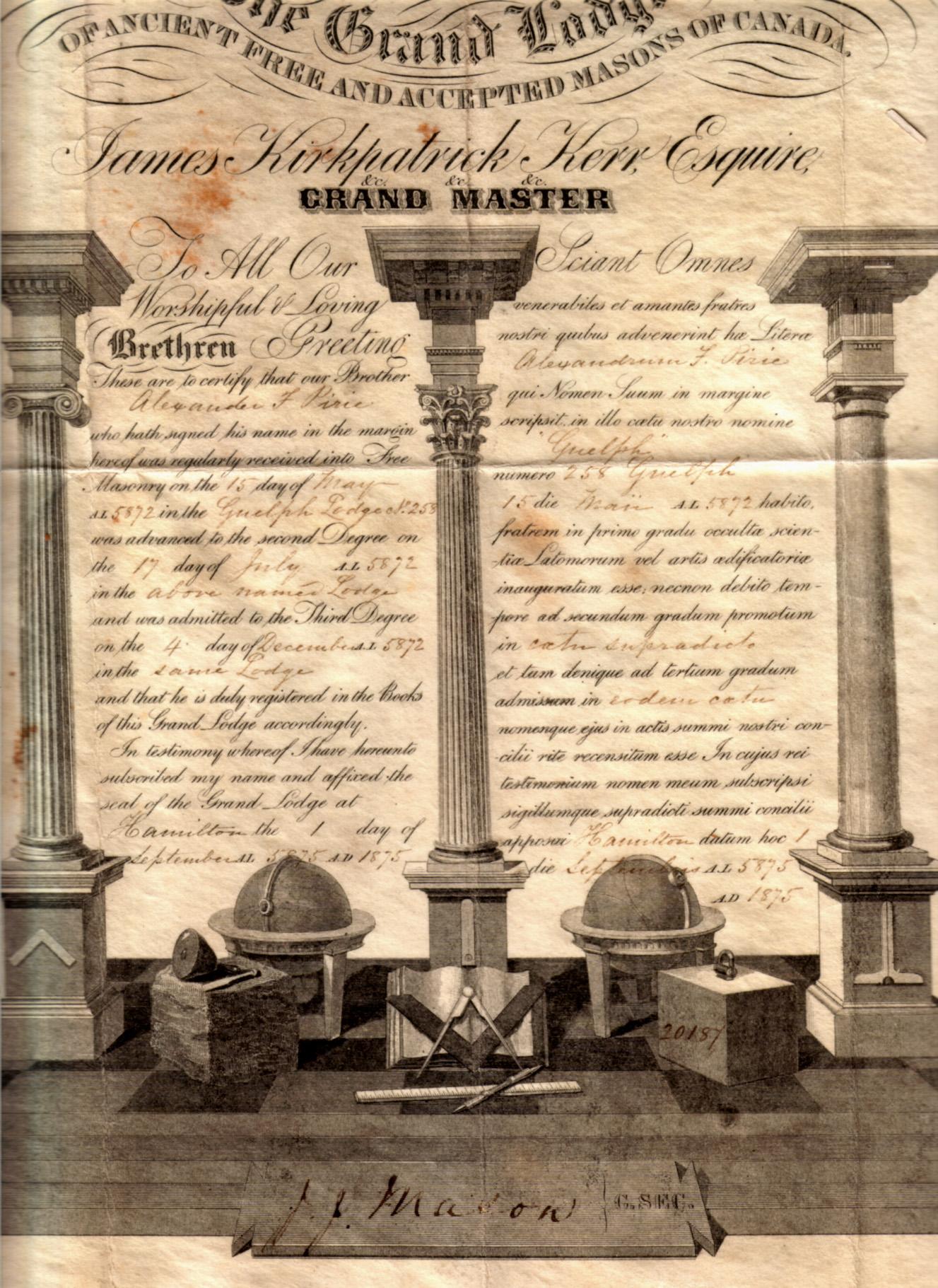 Filepirie A F 1875 Masonic Certificatejpg Wikipedia