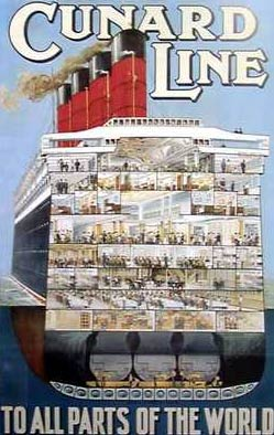 Poster showing a cross-section of the Cunard Line's emigrant liner RMS Aquitania, launched in 1913