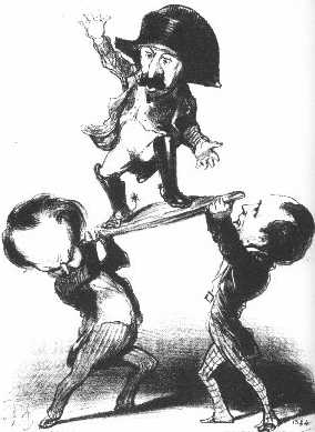 """Messrs. Victor Hugo and Emile de Girardin try to raise Prince Louis upon a shield [in the heroic Gaulish fashion]: not too steady!"" Honore Daumier's: satirical lithograph published in Charivari, 11 December 1848 DaumerHugoLouisNapoleon1848.jpg"