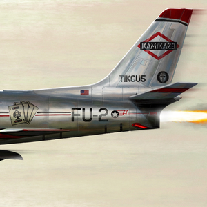 A painting of the rear end of a jet with graffiti about Eminem on it. It is very similar to the artwork of the debut album of Beastie Boys, Licensed to Ill.