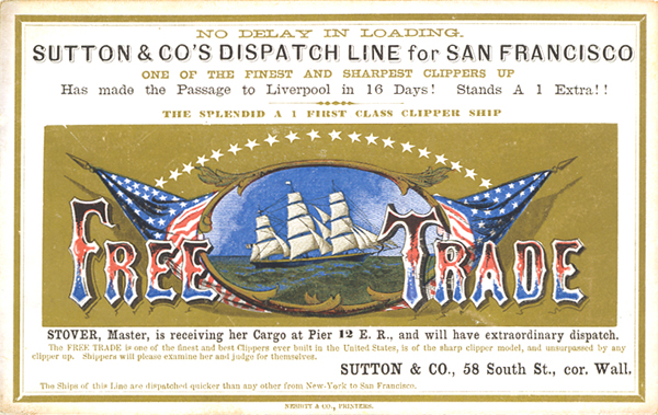 Clipper ship sailing card for the