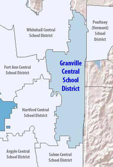 Map Of The Granville Central School District And Surrounding Districts In Both New York Vermont
