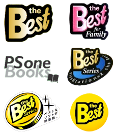 Official The Best and PS one Books badges used on PlayStation game covers