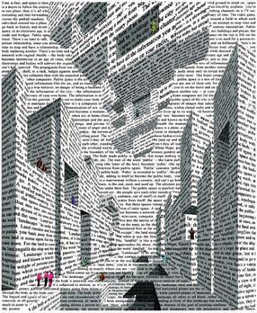 City of Words, Lithograph by Vito Acconci