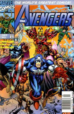 1997 showing the heroes reborn avengers cover art by michael ryan and sal regla