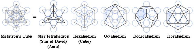 The five Platonic Solids derived from the Fruit of Life.