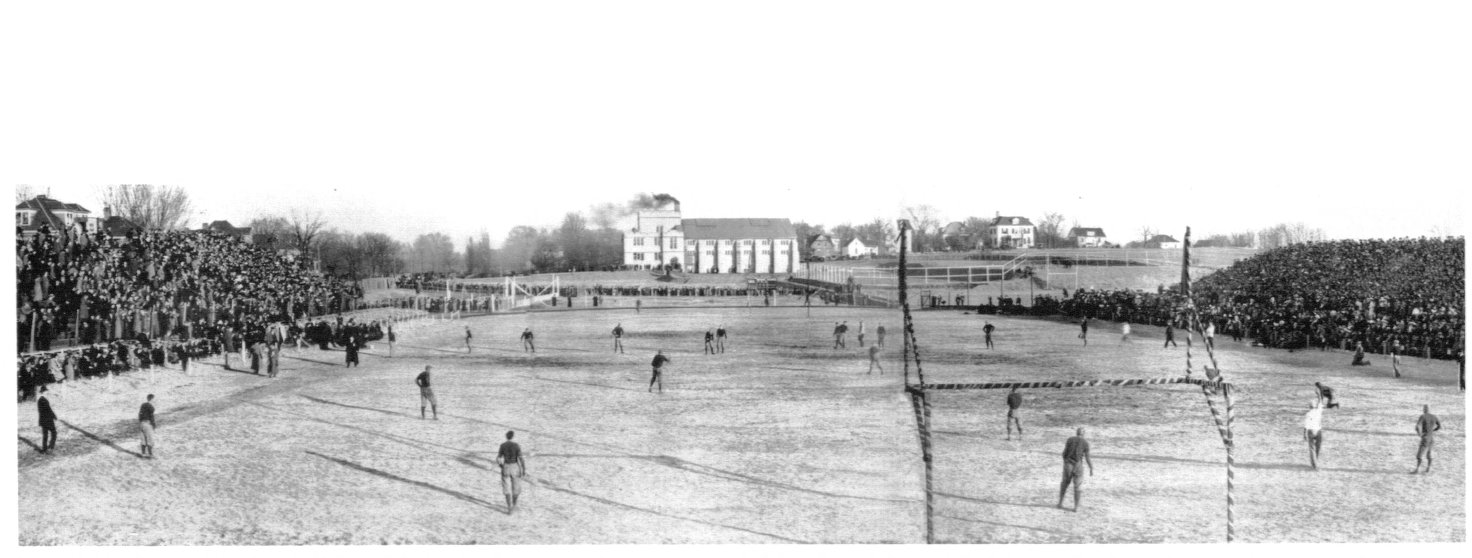 Picture of the first homecoming football game in 1911, against the Missouri tigers and the Kansas jayhawks.