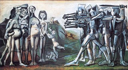 Pablo Picasso's Massacre in Korea (1951) was painted as a protest against the United States intervention in Korea. Picasso directly quotes The Third of May 1808 in what one critic considers a more bombastic and humorous composition. Picasso Massacre in Korea.jpg