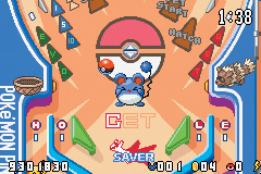 The image depicts the pinball hitting Marill, the target, on the Ruby board. The player has hit it once and has to hit it two more times. The board is decorated with several Pokémon, including Zigzagoon, Pikachu, and Latias. The statistics are shown on the bottom, while the time remaining is shown at the top.