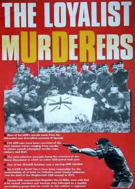Anti-UDR poster highlighting the British Army's links to British terror gangs in Ireland
