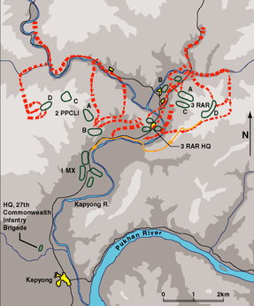 Map of the movements during the battle as described in the text