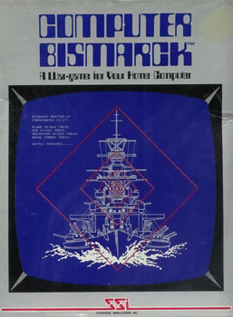 "Artwork of a grey, vertical rectangular box. The top portion reads ""Computer Bismarck. A War-game for Your Home Computer"". The bottom portion displays a white line drawing of a battle ship on a blue monitor screen."