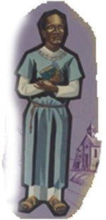 Negro in a blue cassock clutching a Bible to his chest