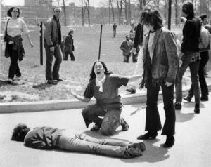 John Filo's iconic Pulitzer Prize-winning photograph of Mary Ann Vecchio, a fourteen-year-old runaway, kneeling over the body of Jeffrey Miller after he was shot dead by the Ohio National Guard.