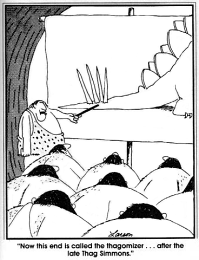 "Larson cartoon. ""Now this end is called the thagomizer... after the late Thag Simmons."""
