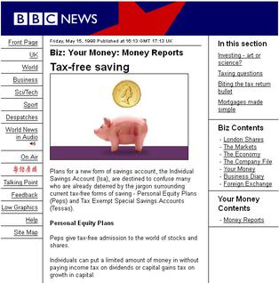 The original BBC News website design, May 1998 BBC news 270499.jpg