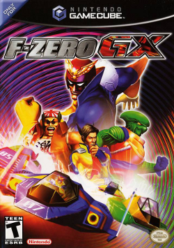 "Four characters pose amid a colorful background. ""F-Zero GX"" appears in stylized capitals above them, and are seen driving their respective vehicles beneath them."