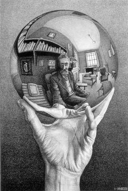 Hand with Reflecting Sphere by M. C. Escher.