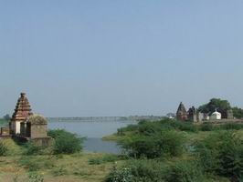 View of Puntamba, a town of Temples,You Can see Temples as well as Railway Bridge on Godavari.