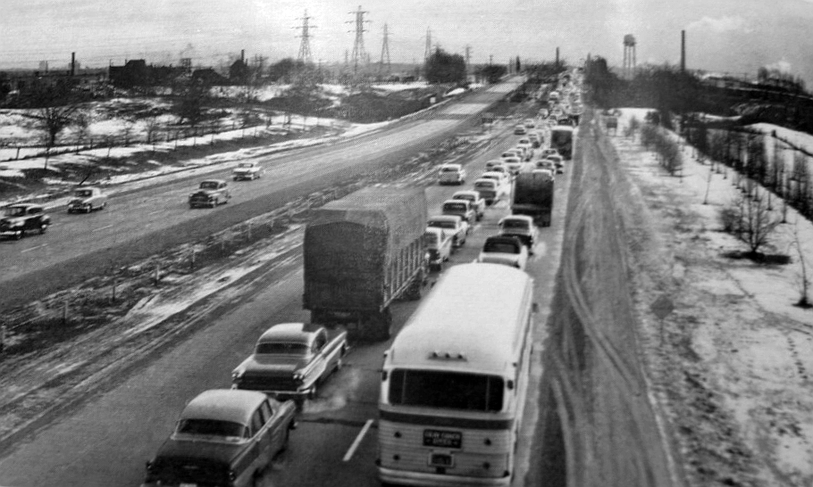Long Traffic Jams Such As This One Entering Toronto Prior To The Construction Of Gardiner Expressway Became Commonplace On Unupgraded Highway