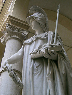 The Minerva Statue in front of the Rectorate Palace at the University of Turin.