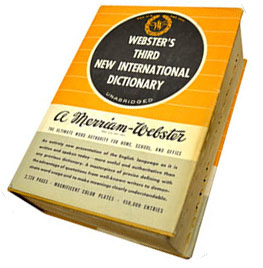 <i>Websters Third New International Dictionary</i> unabridged English dictionary