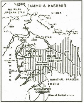 Map of Kashmir as drawn by the Government of Pakistan
