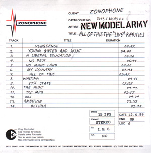 """<i>All of This – The """"Live"""" Rarities</i> 1999 live album by New Model Army"""