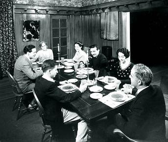 Cast of radio's One Man's Family, clockwise from lower left: Jack (Billy Page), Clifford (Barton Yarborough), Mrs. Barbour (Minetta Ellen), Claudia (Kathleen Wilson), Paul (Michael Raffetto), Hazel (Bernice Berwin), Mr. Barbour (J. Anthony Smythe). Onemantable.jpg