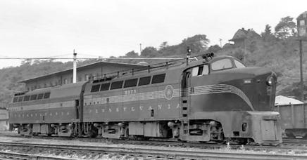 "Pennsylvania Railroad DR-4-4-15 ""Sharknose"" units at Cincinnati, Ohio. Note the prominent side fuel fill, a signature feature. PRR DR-4-4-15 Sharknose.jpg"