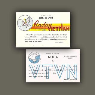 Radio Vietnam broadcast hours cards, denoting times and frequencies of radio broadcasts in 1960 and 1962. Address: 3 Phan Dinh Phung St., Saigon Radio VN Broadcast Hours card.jpg