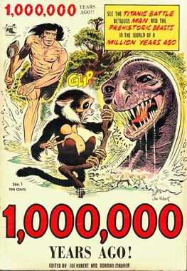 Tor makes his first appearance as he rushes to aid his monkey Chee-Chee from the attack of a Brontosaurus-like carnivorous Dinosaur. From 1,000,000 Years Ago! #1 (1953) published by St. John Comics. Cover art by Joe Kubert Tor1st.jpg