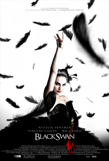 The poster for the film shows Natalie Portman with white facial makeup, black-winged eye liner around bloodshot red eyes, and a jagged crystal tiara