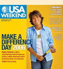 An Issue of USA WEEKEND. The top blank bar fea...