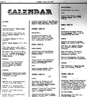 Chinook Calendar page, April 23, 1970, showing typical events and community interests of an underground paper of this period. (Click to expand)