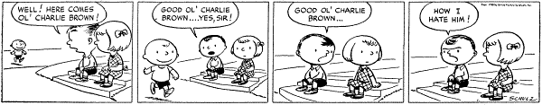 The first strip from October 2, 1950. From left to right: Charlie Brown, Shermy, and Patty. First Peanuts comic.png