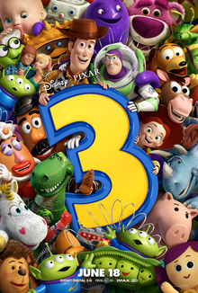 All of the toys packed close together, holding up a large numeral '3', with Buzz, who is putting a friendly arm around Woody's shoulder, and Woody holding the top of the 3.