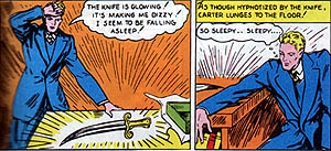 Carter Hall finds the ancient knife connected to his past life. Interior panel of Flash Comics #1 (1940). Art by Dennis Neville.