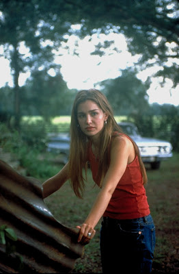 Gina Philips in between takes outside St. James Church and in front of the pipe used during filming.[19]